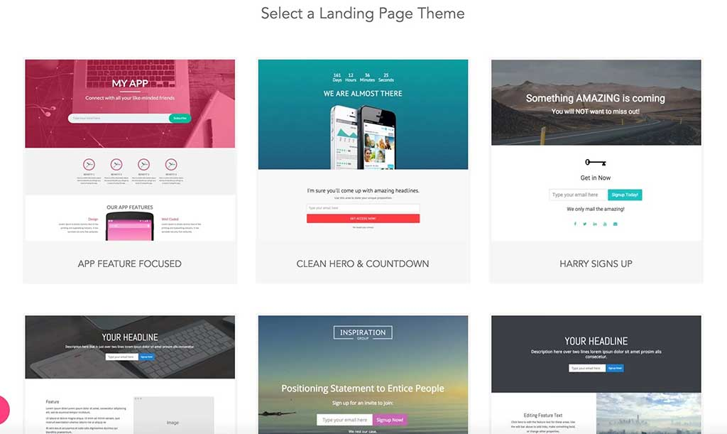 examples of landing pages kickofflabs