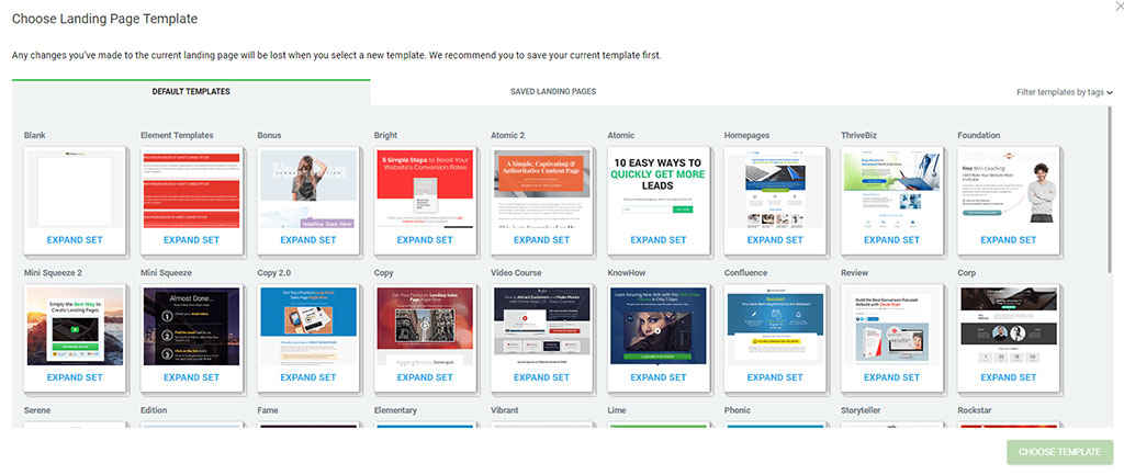 examples of landing pages thrive architect